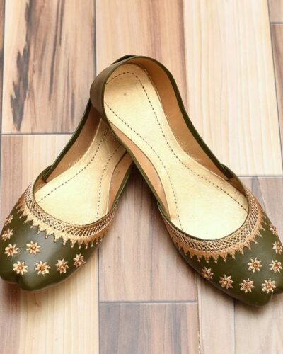 green Khussa Shoes