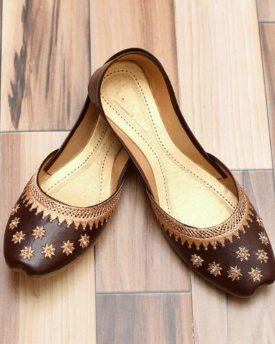 Brown Star Khussa Shoes