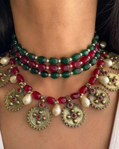 Ruby x Emerald x Pearls Necklace